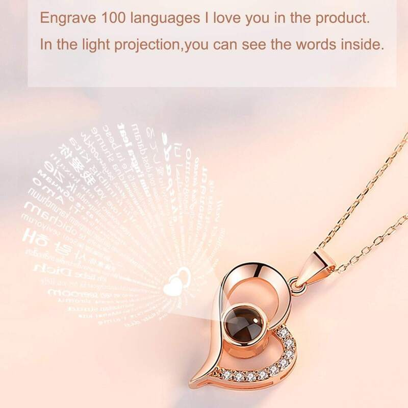 Light Projection Heart Pendant Necklace, Gold