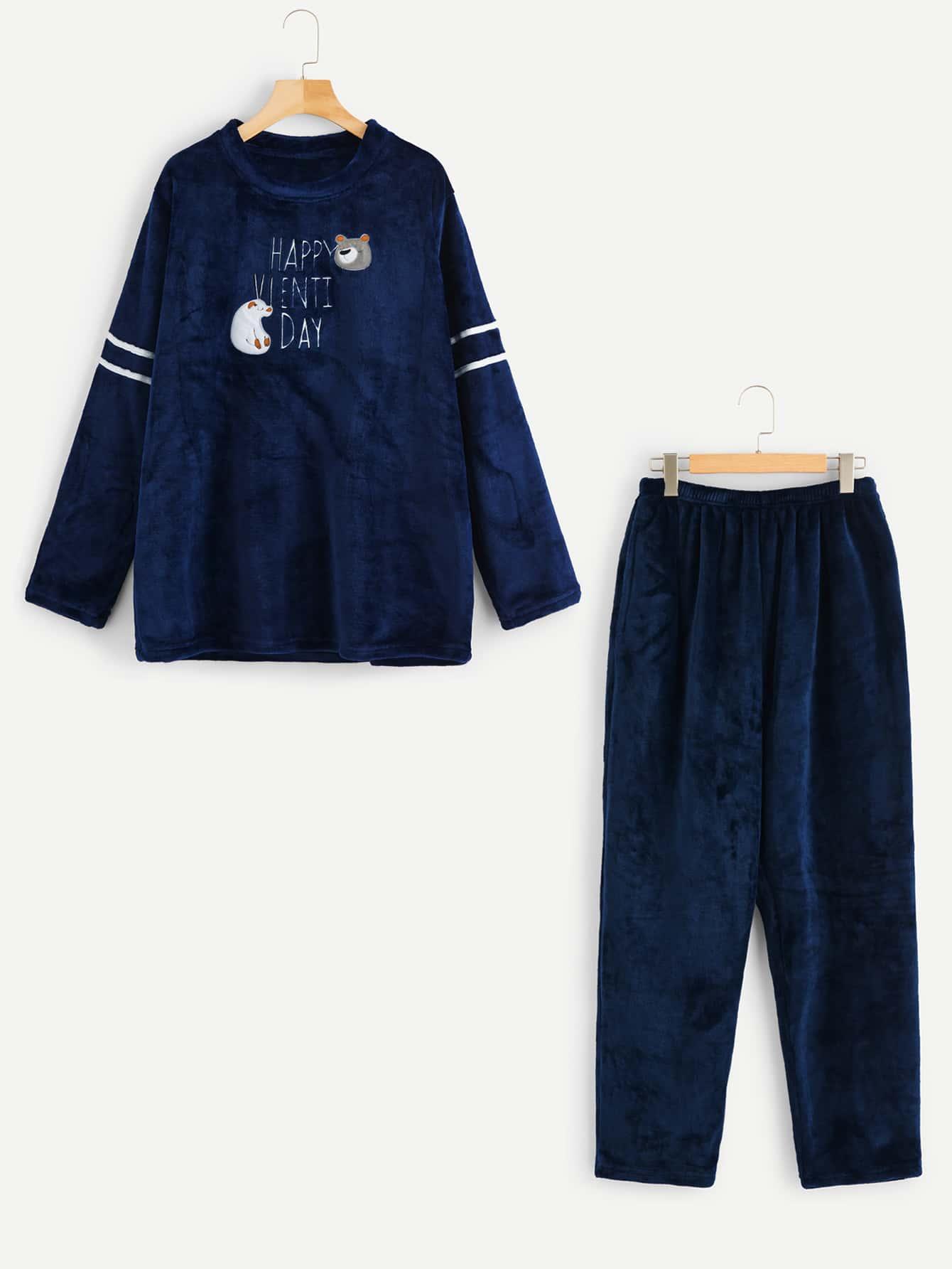 Фото - Мужский комплект пушистой пижамы с принтом медведя и вышитых букв от SheIn цвет тёмно-синие