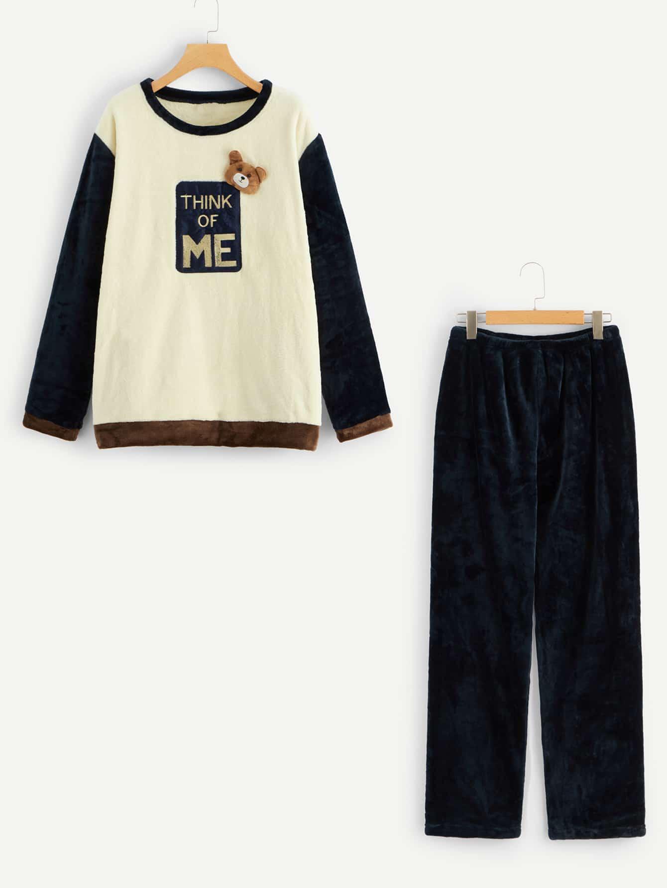 Купить Мужская пушистая пижама PJ с принтом вышитым текстовым и заплатой медведя, null, SheIn