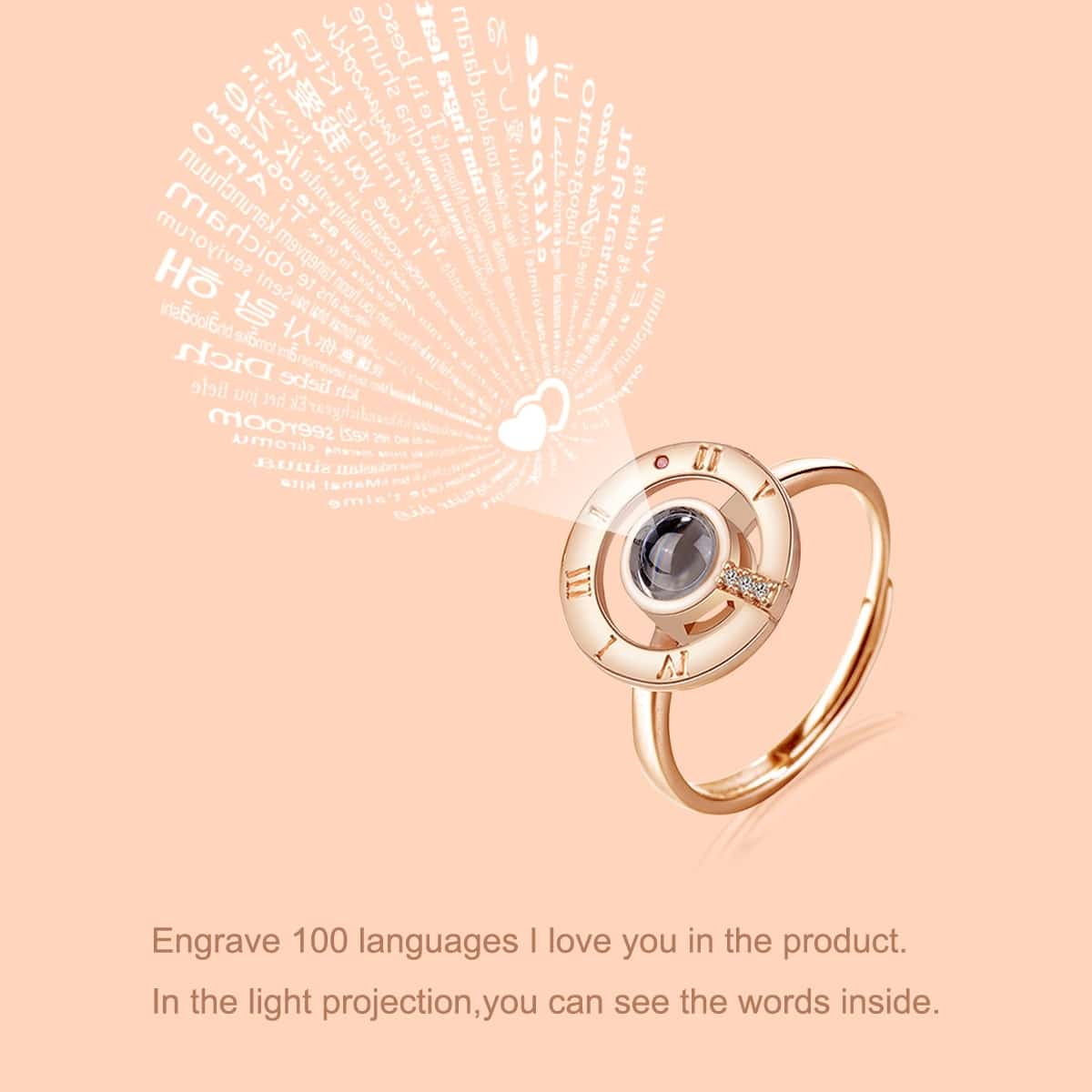 SHEIN / Ring mit Licht Projektion Strass