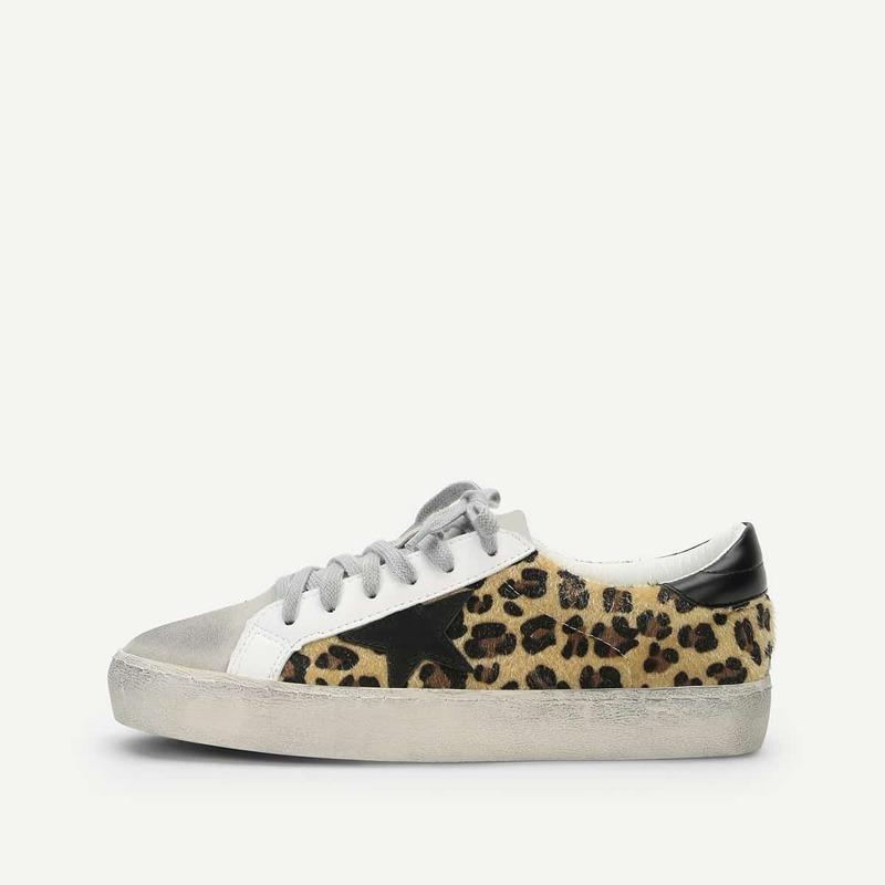 Leopard Print Lace Up Sneakers, Multicolor