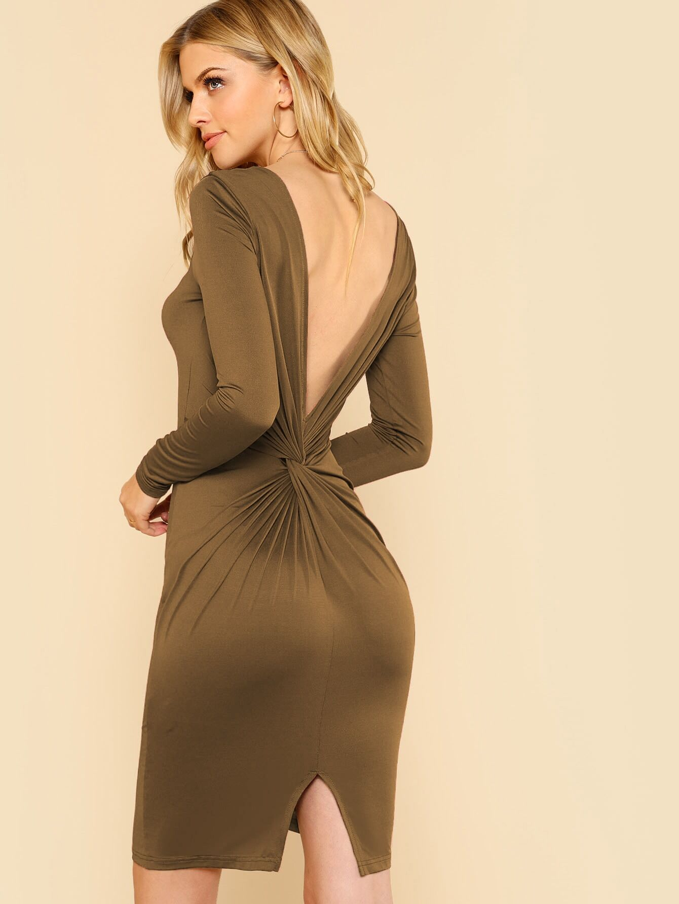 Купить Твитое платье с v-образным вырезом сзади, Marina Laswick, SheIn