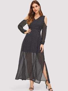Open Shoulder Dot Print Dress
