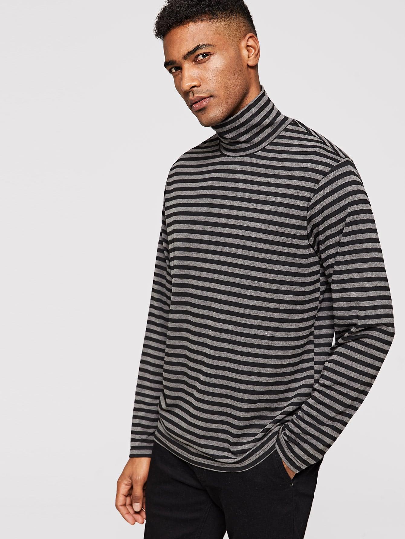 Купить Мужская полосатая футболка с высоким вырезом, Johnn Silva, SheIn