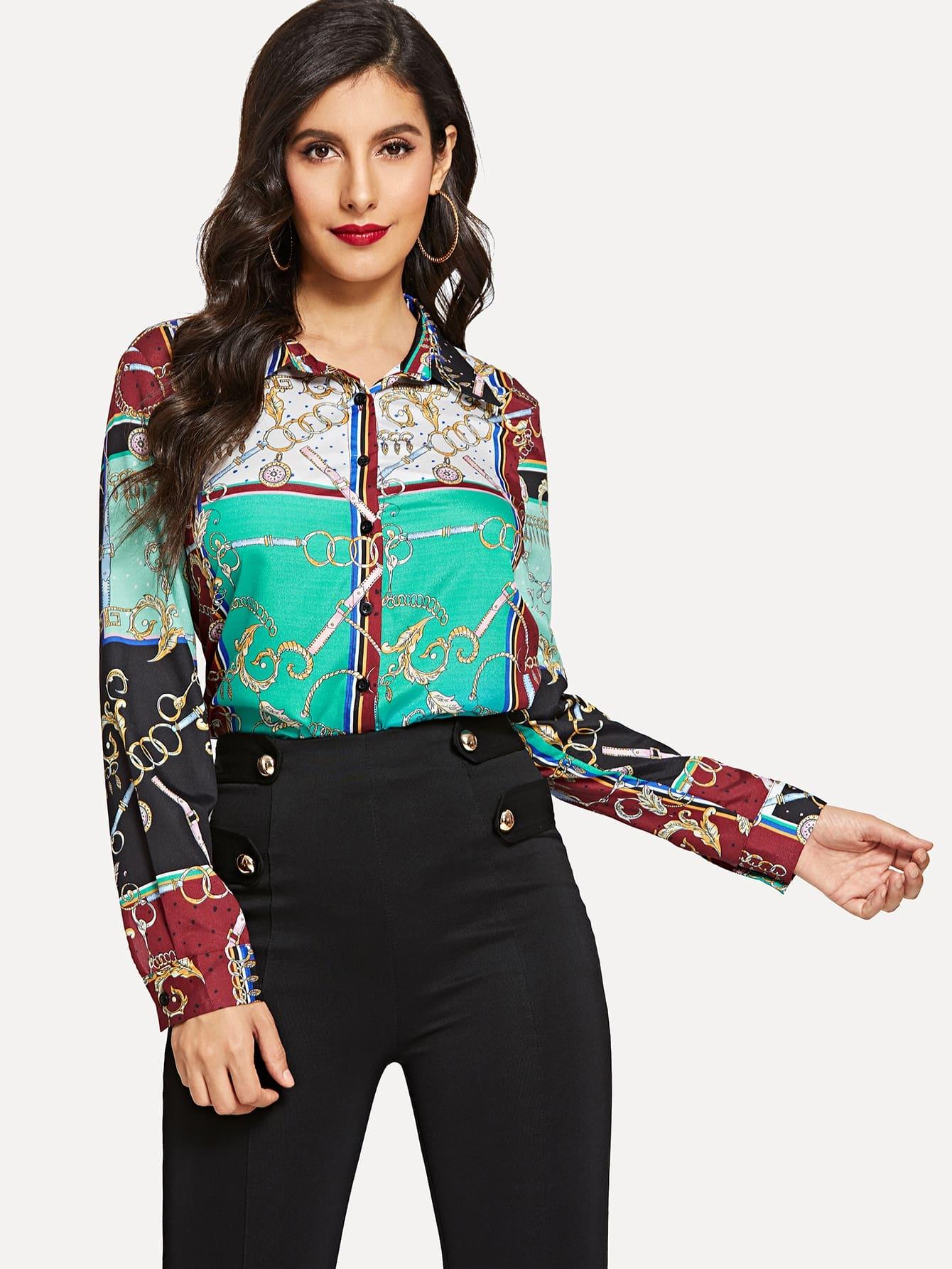 Купить Рубашка с графическим принтом, Jeane, SheIn
