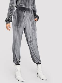 Elastic Hem Velvet Sweatpants