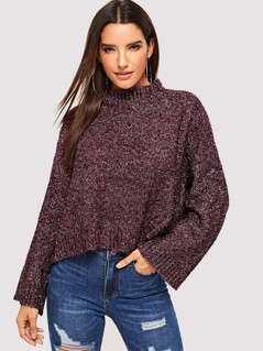 Mock Neck Crop Oversized Sweater