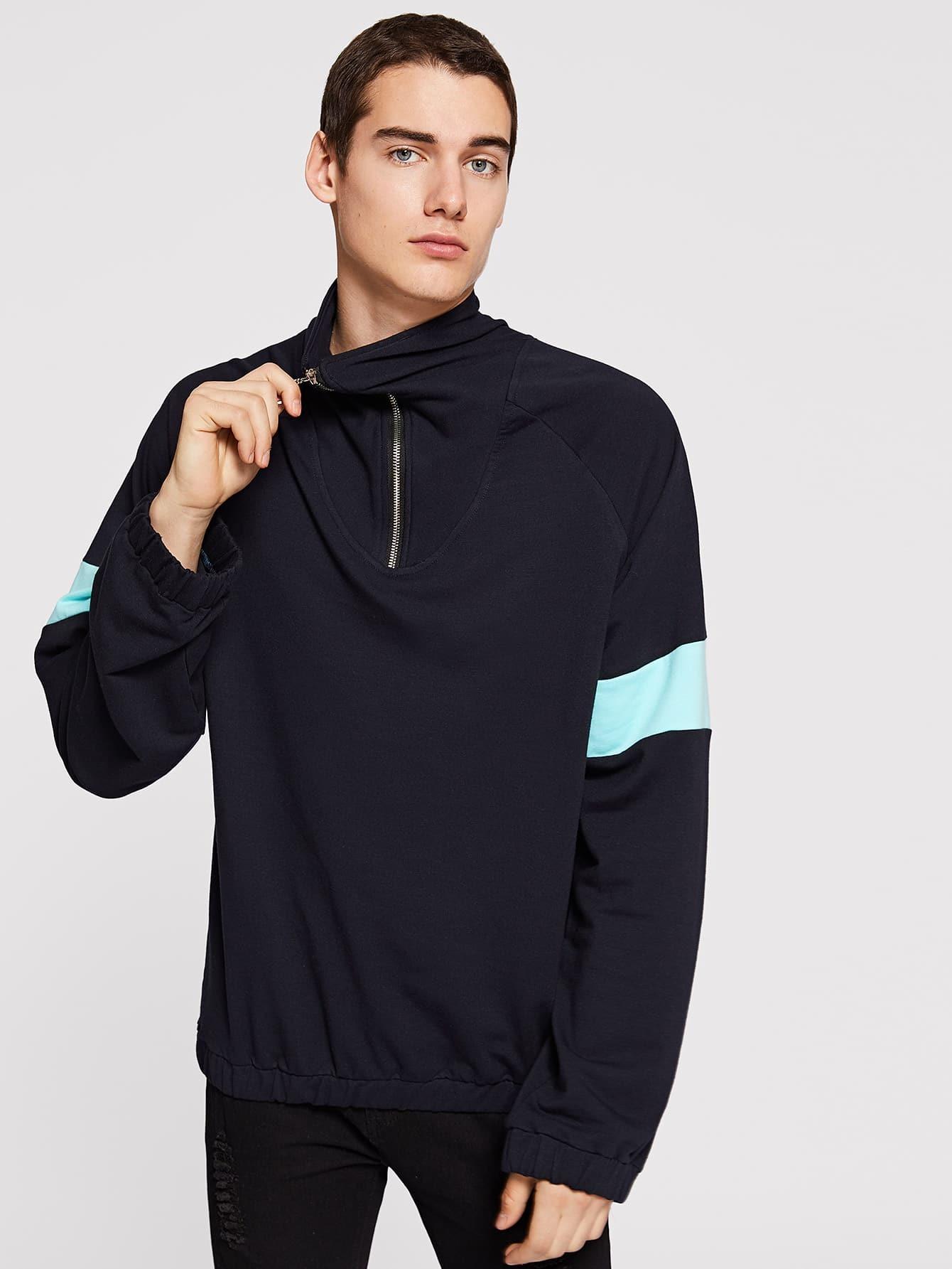 Купить Мужский пуловер с молнией и эластичным низом, Misha, SheIn