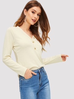 V Neck Button Up Tee
