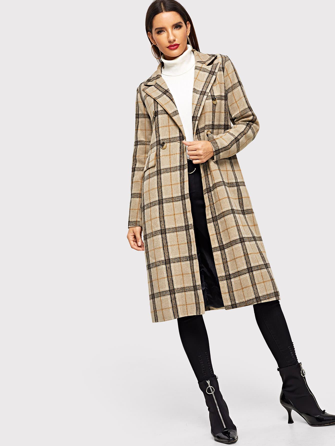 Твидовое двубортное пальто в клетку SheIn