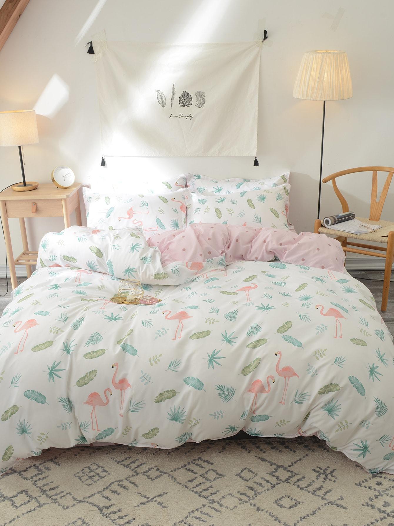 Купить Комплект постельного белья с принтом Фламинго, null, SheIn