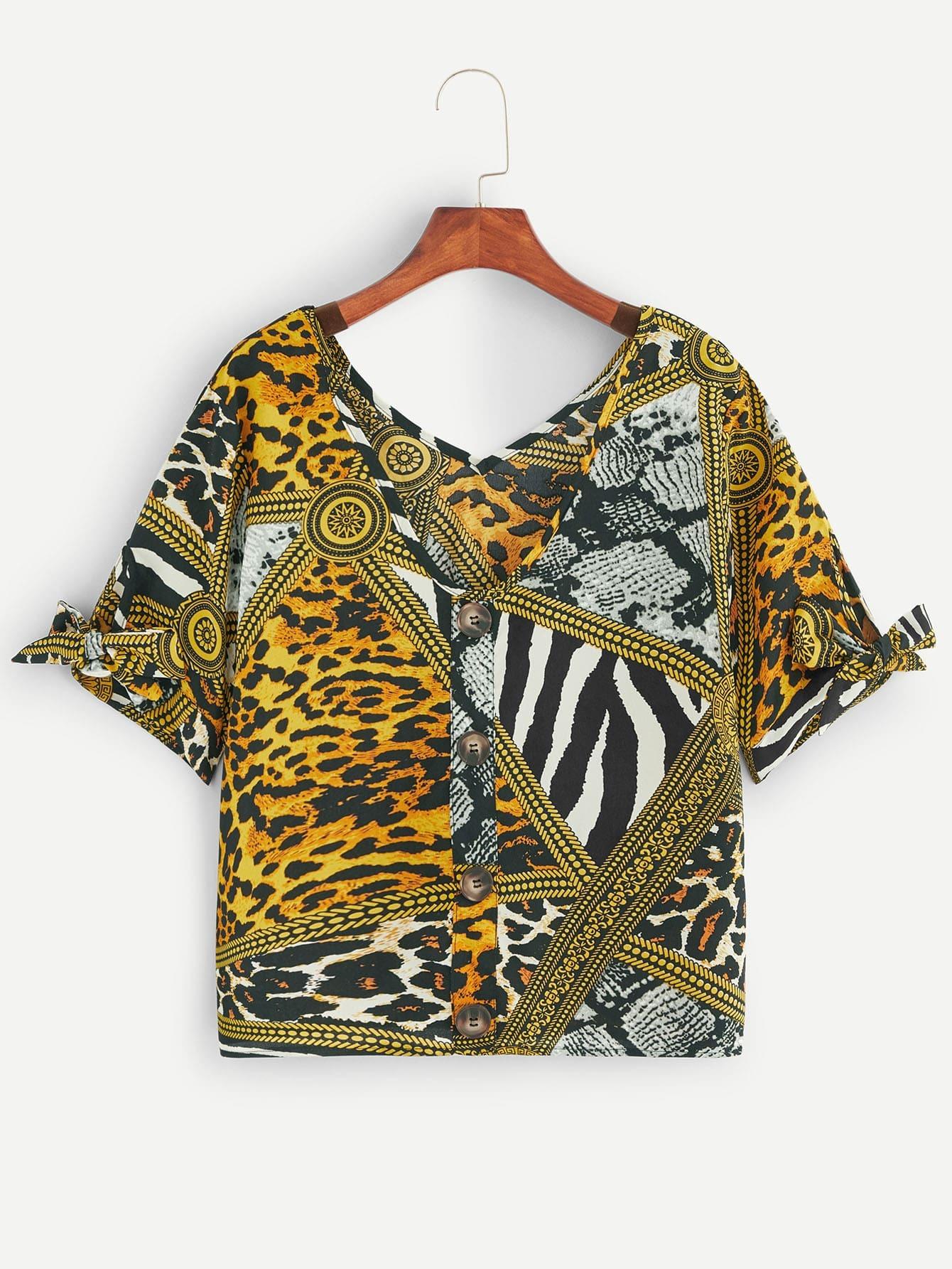 Купить Леопардовая однобортная блузка с бантом, null, SheIn