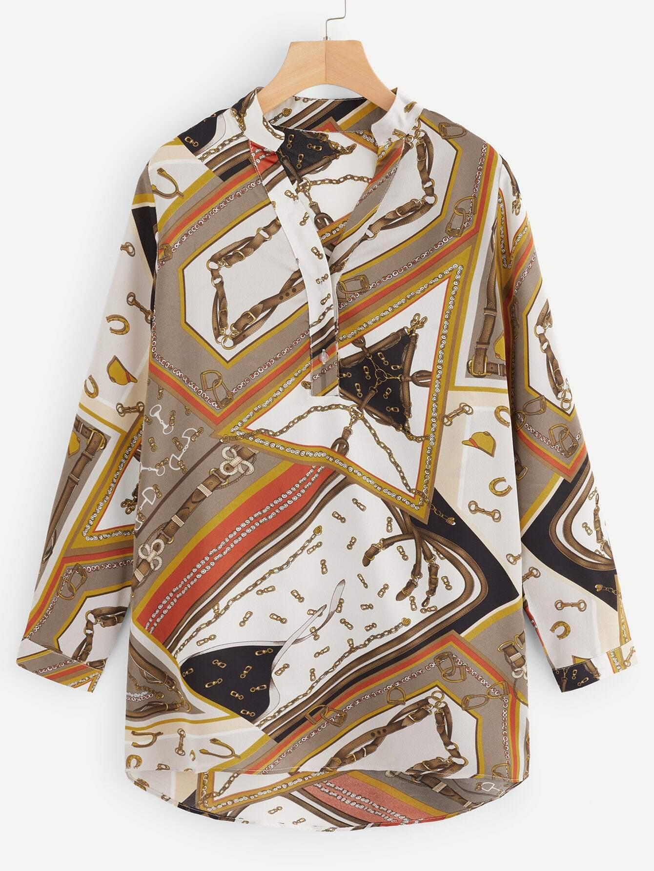 Купить Асимметричная блузка с графическим принтом, null, SheIn