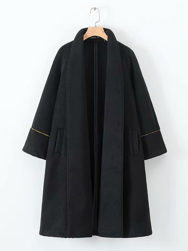 Купить Однотонное пальто с двумя кармана, null, SheIn