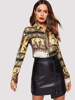 Scarf Print Buttoned Shirt