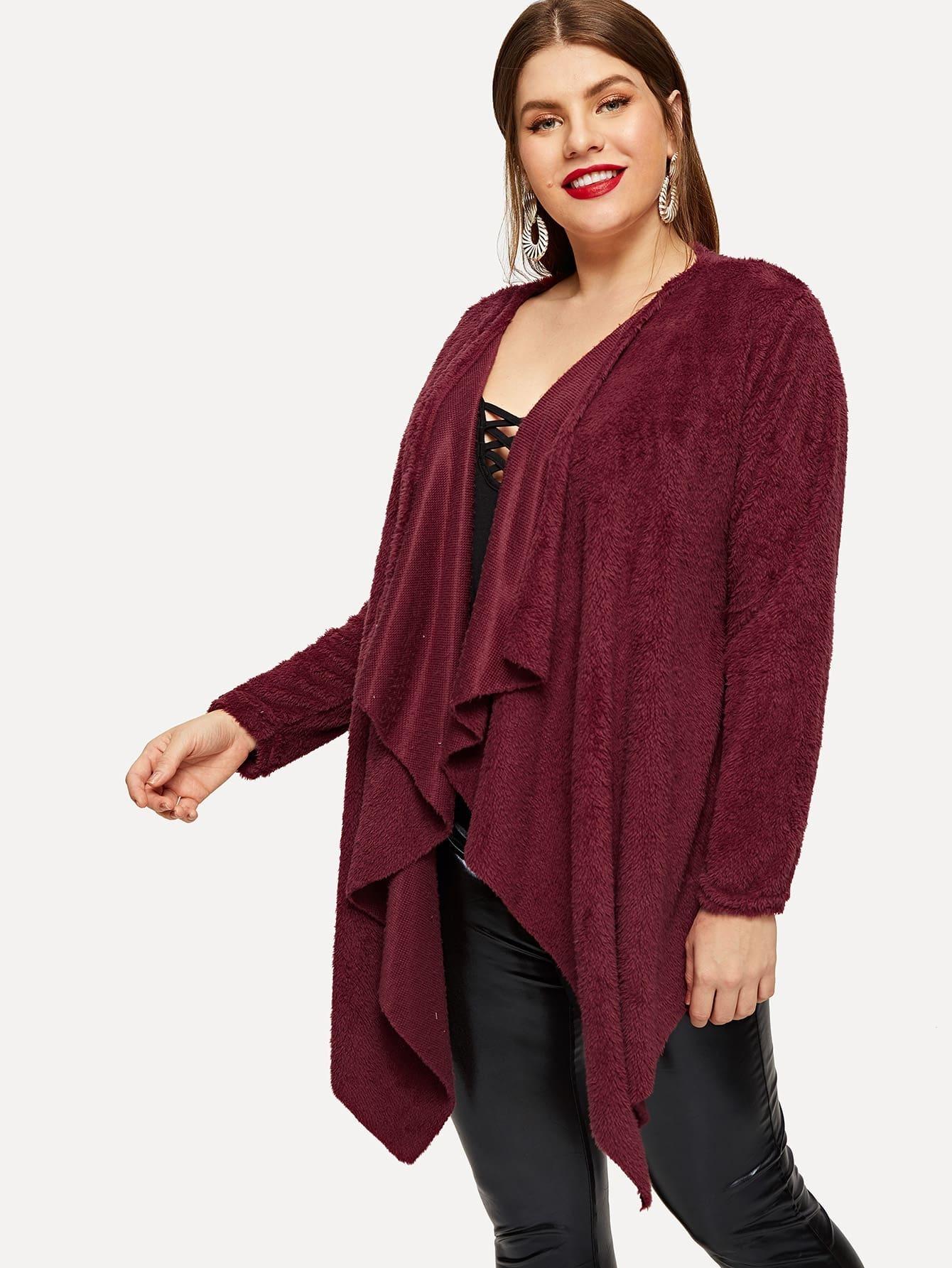 Купить Размера плюс открытое асимметричное пальто, Isabela, SheIn