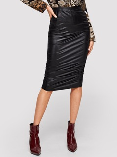 Solid Ruched Skirt