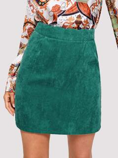 Scalloped Waist Corduroy Skirt