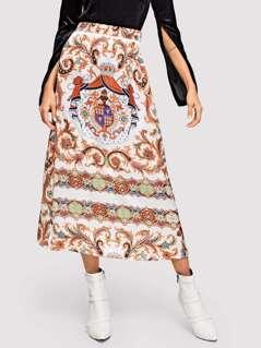 Scarf Print Elastic Waist Skirt