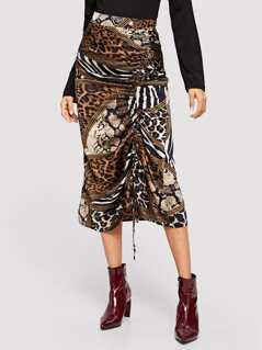 Mixed Print Drawstring Detail Skirt