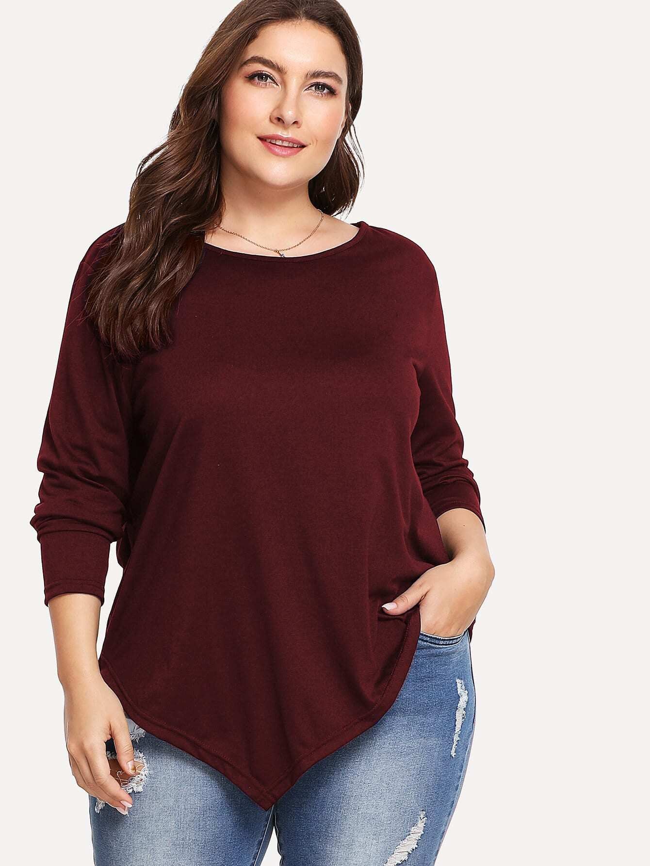 Купить Однотонная футболка с асимметричным низом размера плюс, Franziska, SheIn
