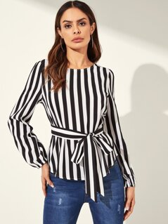 Striped Print Belted Top