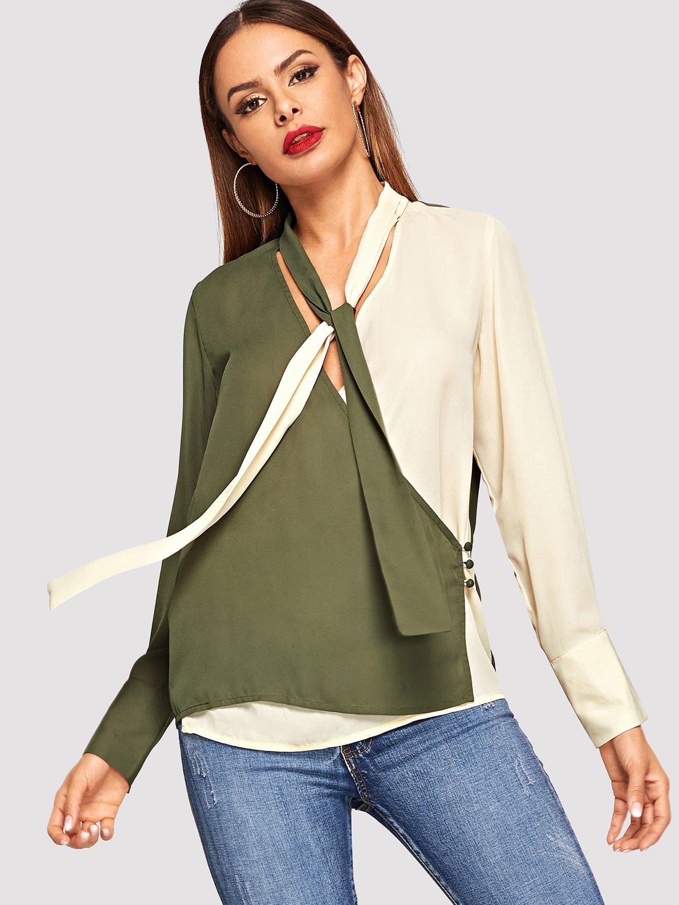 Фото - Двухцветная рубашка с завязывающимся воротником от SheIn цвет многоцветный