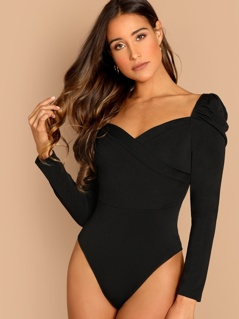 Puff Sleeve Surplice Neck Ruched Bodysuit