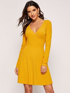 Surplice Neck Fit & Flare Dress