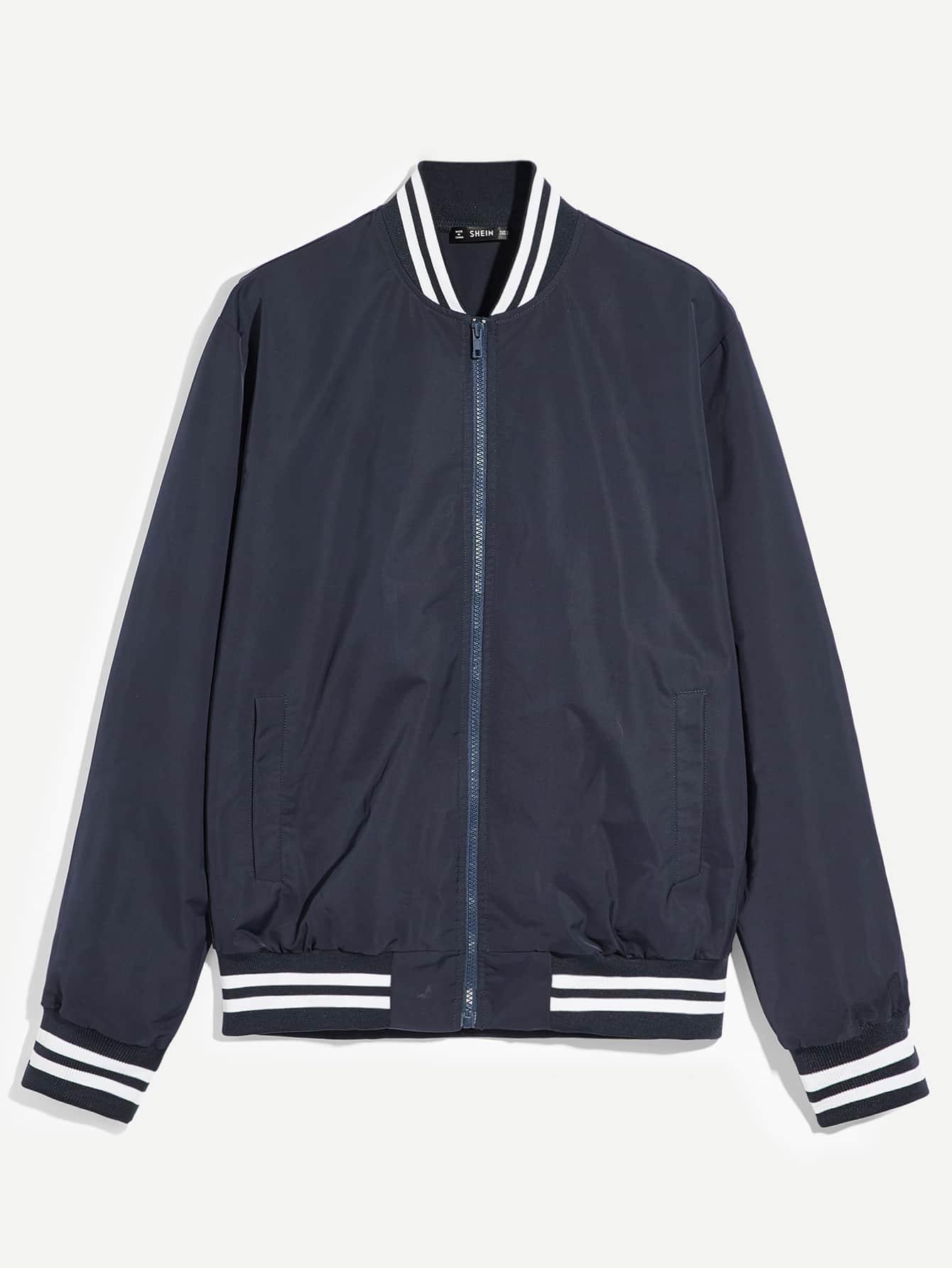 Фото - Для мужчин куртка на молнии от SheIn цвет темно синий