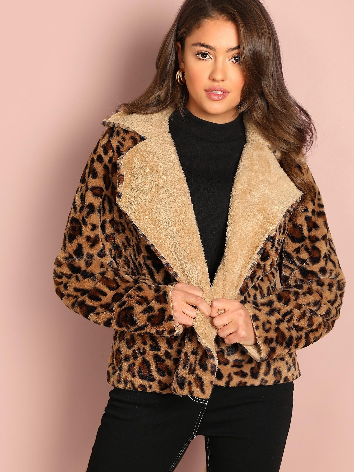 Купить Леопардовое тедди пальто с клиновидным вырезом, Clara Wilsey, SheIn