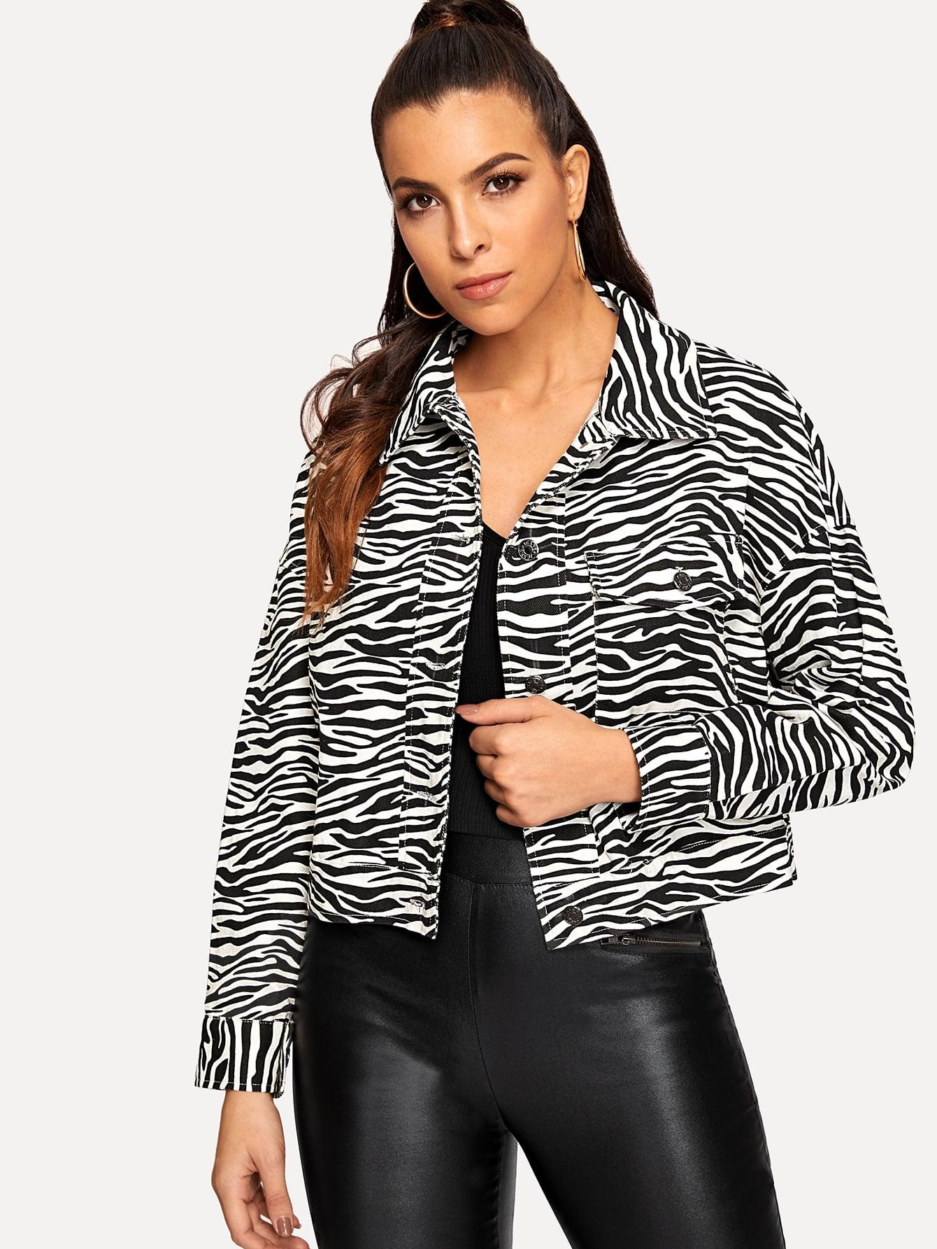 Купить Куртка с принтом зебры и карманом, DANI A, SheIn