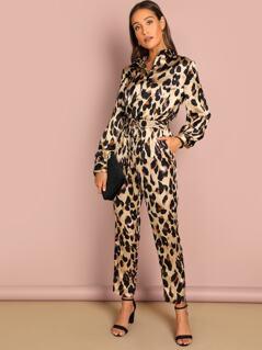 Self Belted Leopard Shirt Jumpsuit