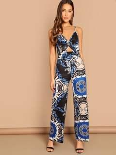 Twist Front Patchwork Print Cami Jumpsuit