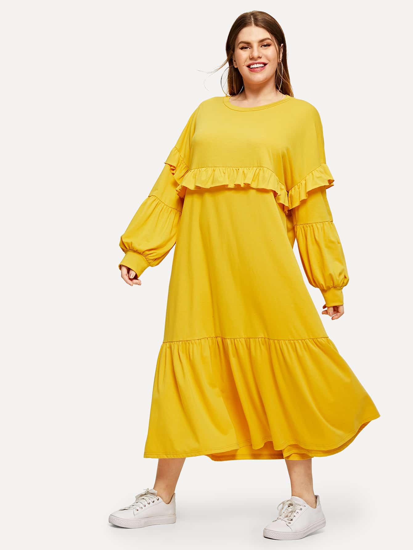 Купить Размера плюс однотонное платье со складкой, Isabela, SheIn