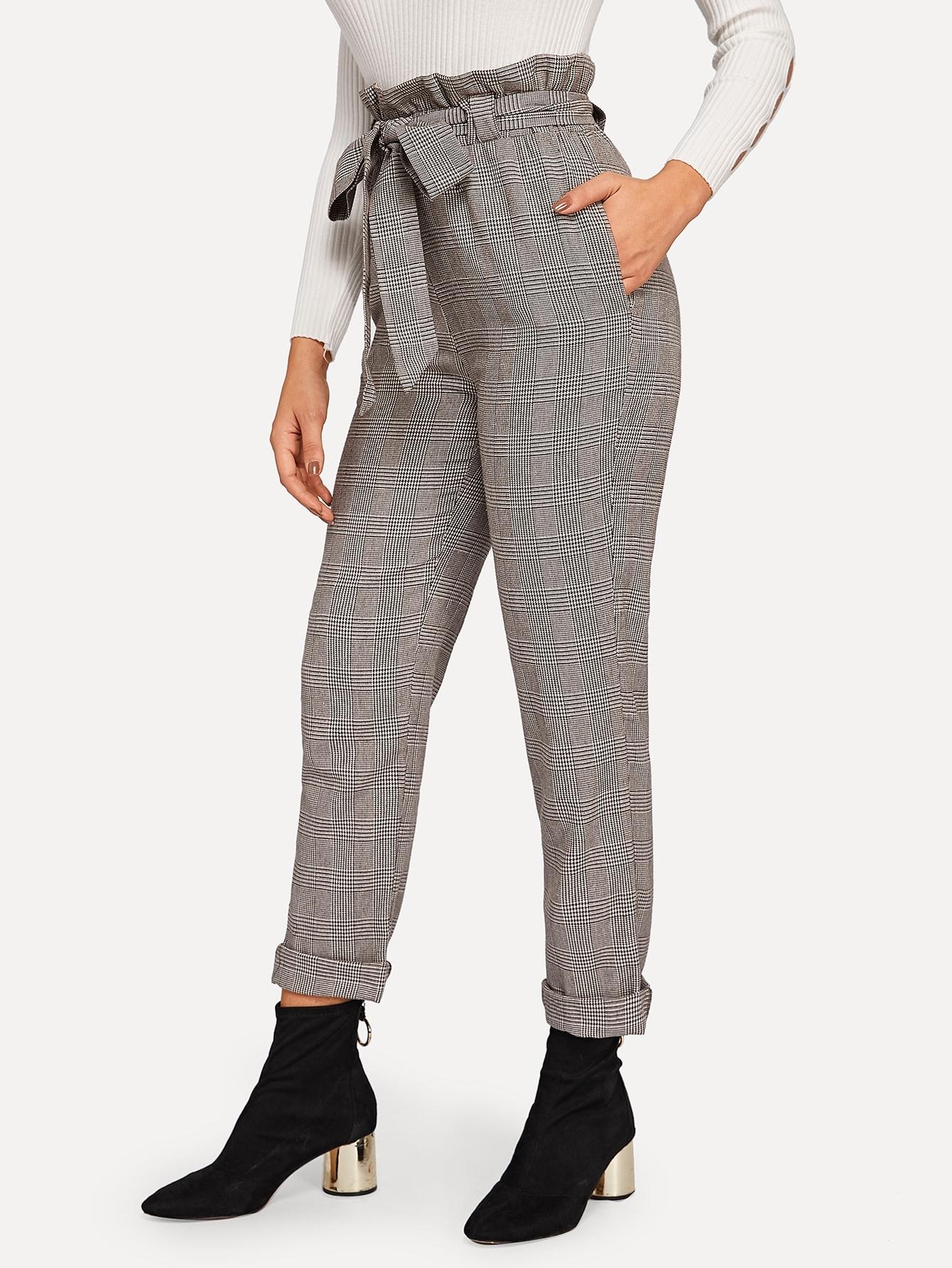Купить Модные клетчатые брюки с поясом, DANI A, SheIn
