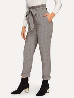 Frilled Tie Waist Plaid Pants