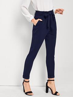 Slant Pocket Detail Belted Waist Pants