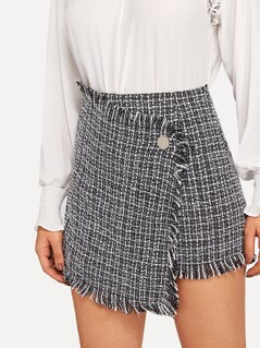 Asymmetric Wrap Frayed Tweed Skirt