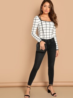Square Neck Contrast Binding Grid Top