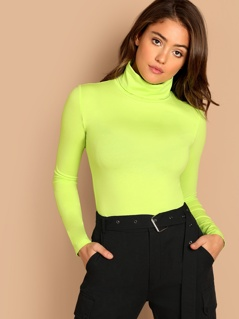 Neon Lime Turtleneck Slim Fitted Neon T-shirt