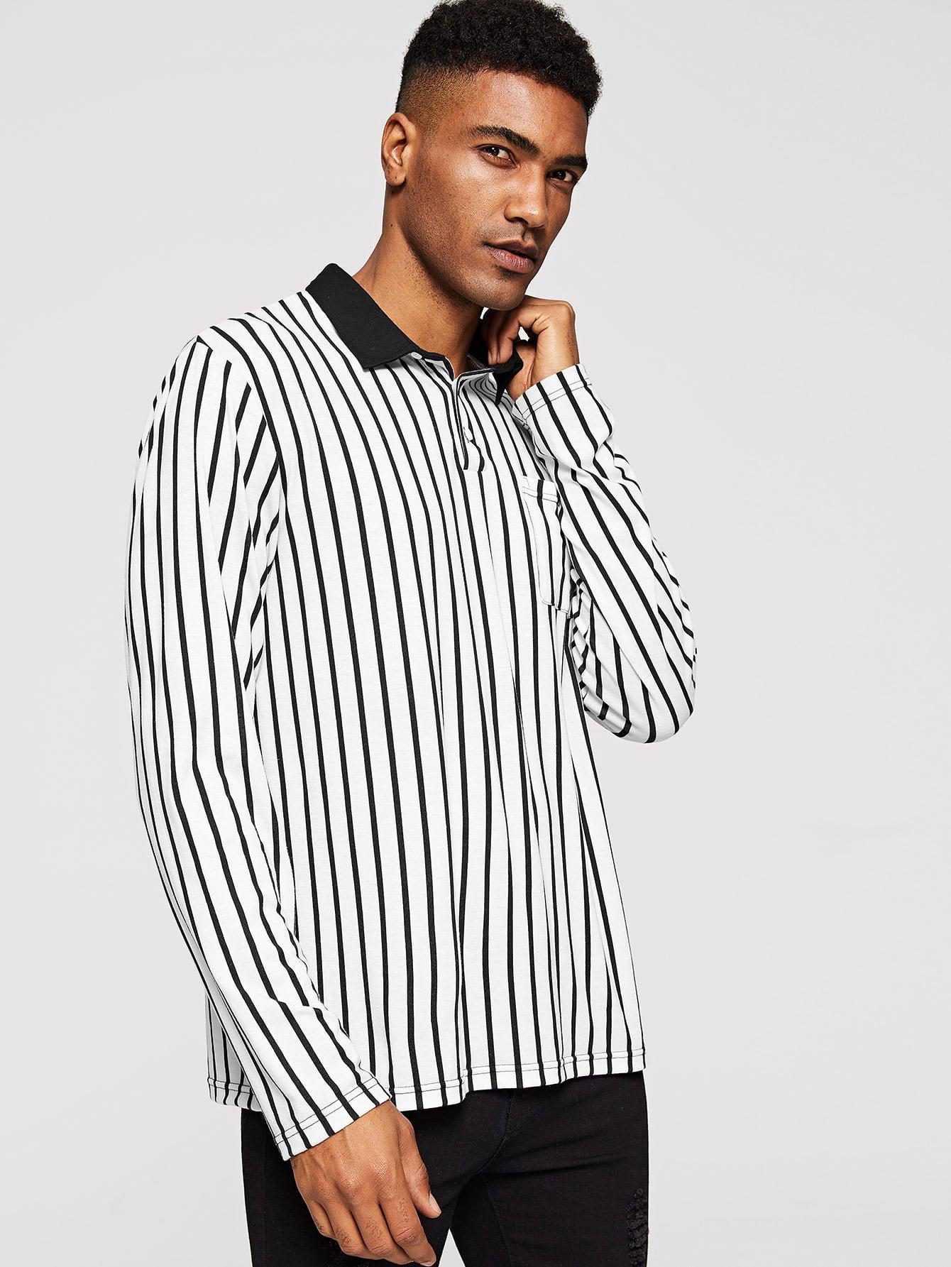 Купить Мужская поло рубашка в полоску с контрастным вырезом, Johnn Silva, SheIn
