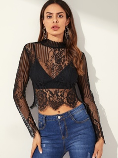 Mock-neck Sheer Lace Top