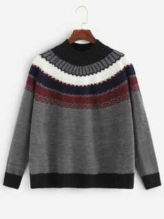 Raglan Sleeve Mixed Pattern Sweater