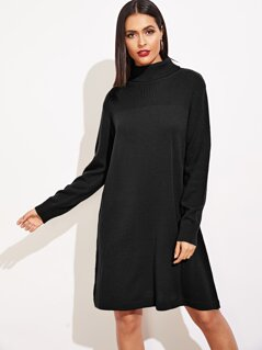 Cut-and-sew Rolled Neck Knit Dress
