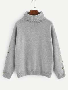High Neck Buttoned Sleeve Sweater