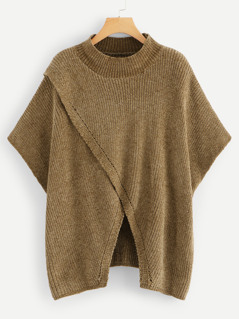 Overlap Front Poncho Sweater