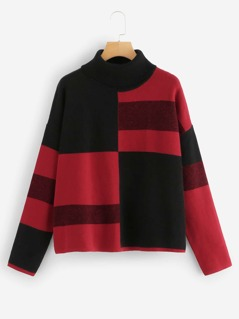 Rolled Neck Color-block Sweater