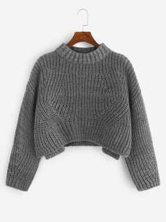 Slit Side Marled Knit Crop Sweater