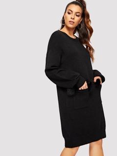 Faux Fur Patched Pocket Knit Dress